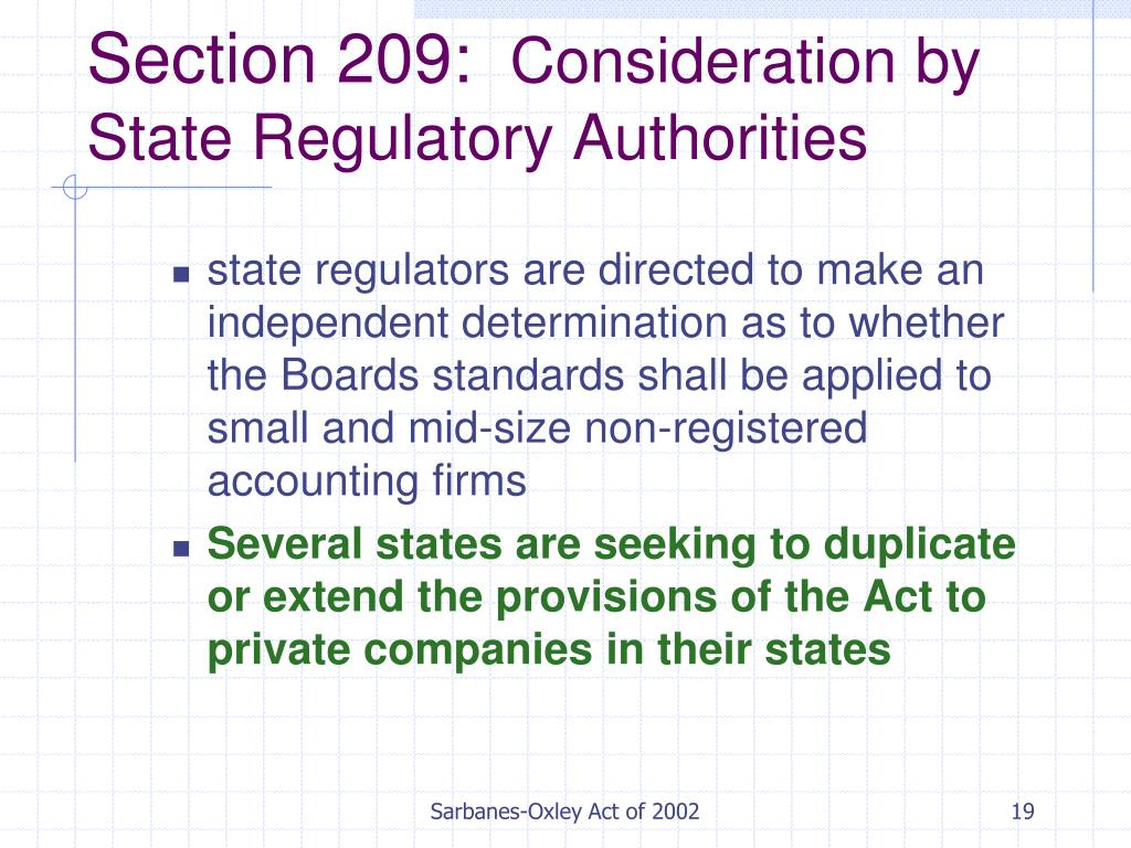 evaluation of the sarbanes oxley act Sarbanes-oxley section 404: a clear understanding of the requirements of the sarbanes-oxley act and the fundamentals of internal controls.