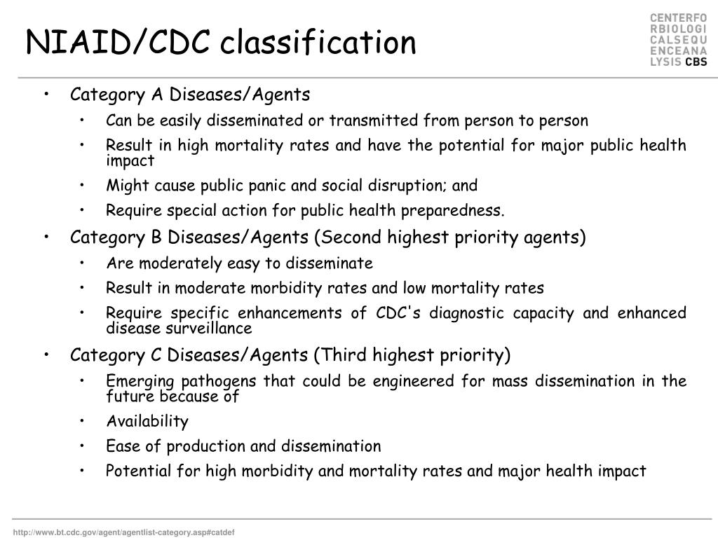 NIAID/CDC classification
