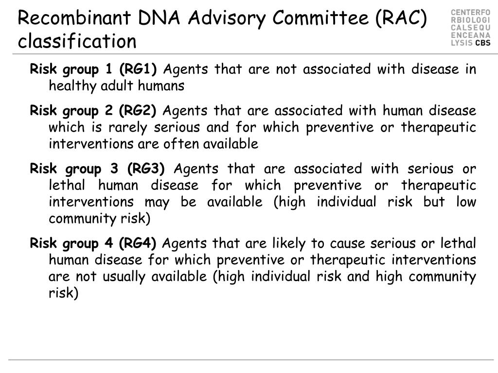 Recombinant DNA Advisory Committee (RAC) classification