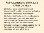five assumptions of the 2002 aamr definition