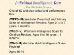 individual intelligence tests the wechsler scales