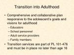 transition into adulthood