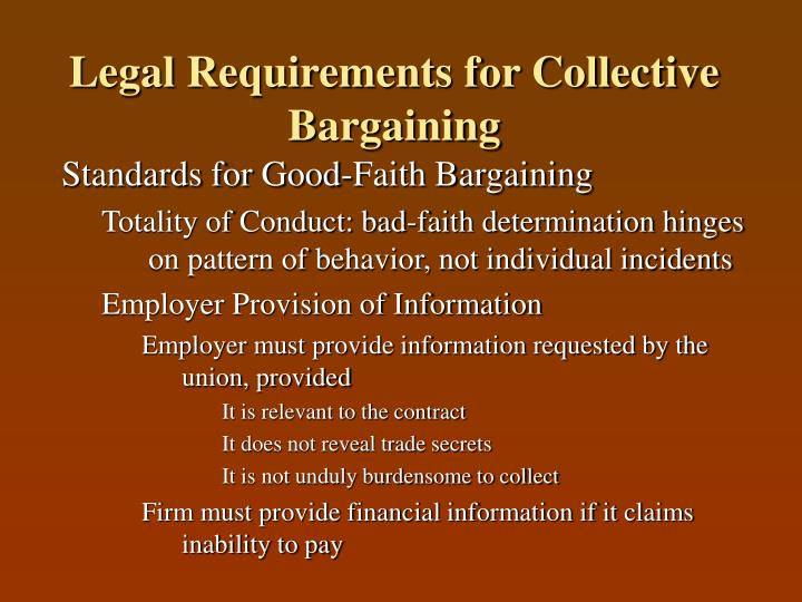 Legal requirements for collective bargaining3