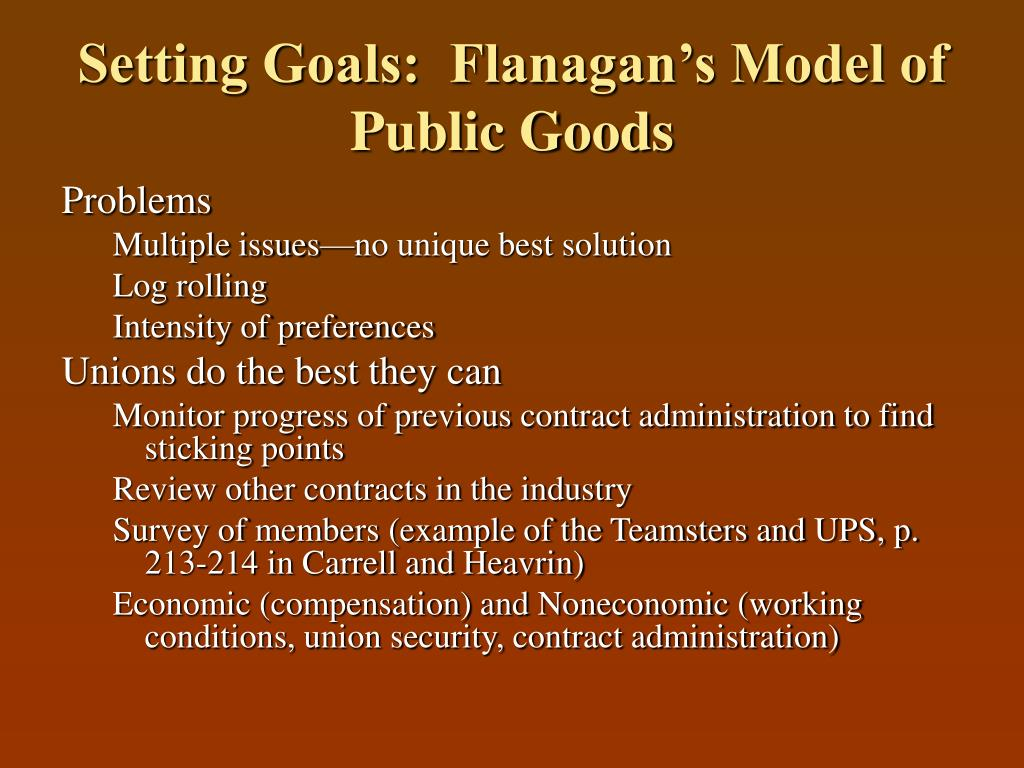 Setting Goals:  Flanagan's Model of Public Goods