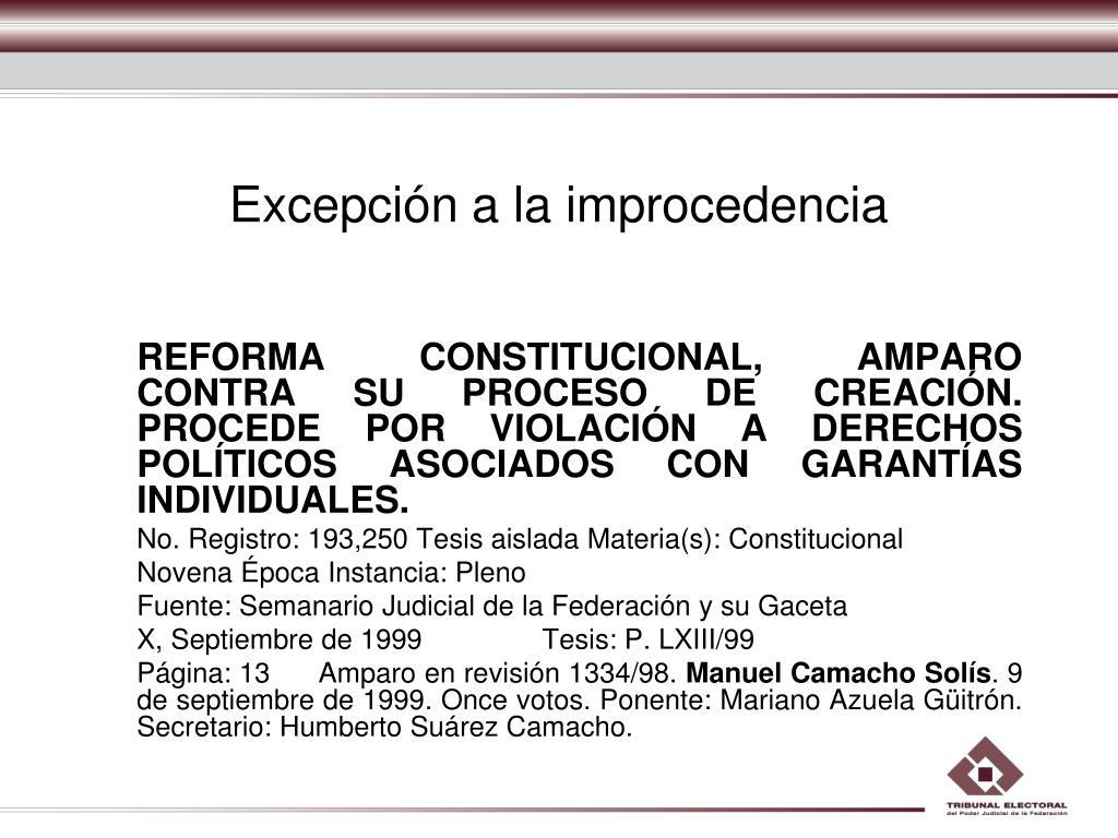 Excepción a la improcedencia
