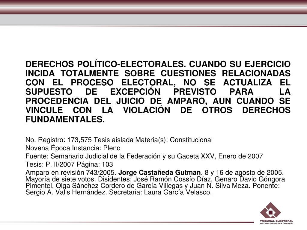 DERECHOS POLÍTICO-ELECTORALES. CUANDO SU EJERCICIO INCIDA TOTALMENTE SOBRE CUESTIONES RELACIONADAS CON EL PROCESO ELECTORAL, NO SE ACTUALIZA EL SUPUESTO DE EXCEPCIÓN PREVISTO PARA  LA PROCEDENCIA DEL JUICIO DE AMPARO, AUN CUANDO SE VINCULE CON LA VIOLACIÓN DE OTROS DERECHOS FUNDAMENTALES.