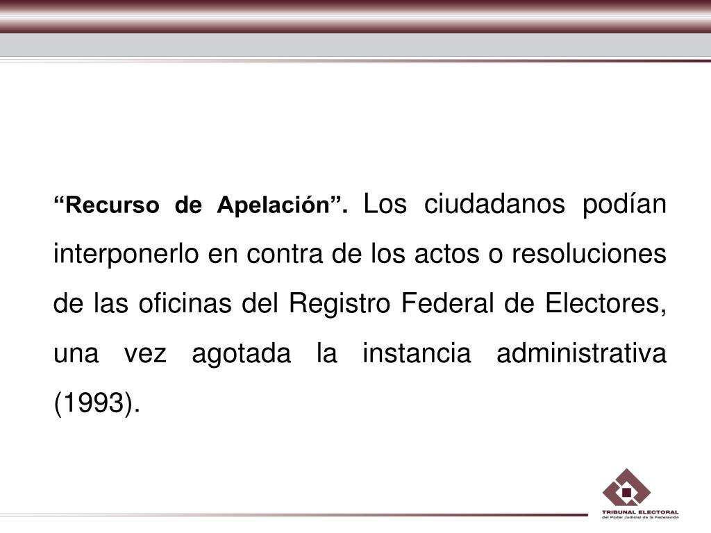"""""""Recurso de Apelación""""."""
