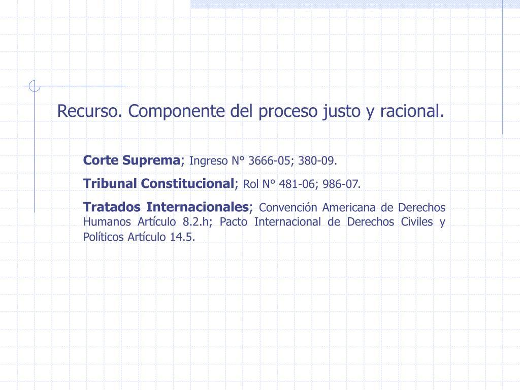 Recurso. Componente del proceso justo y racional.