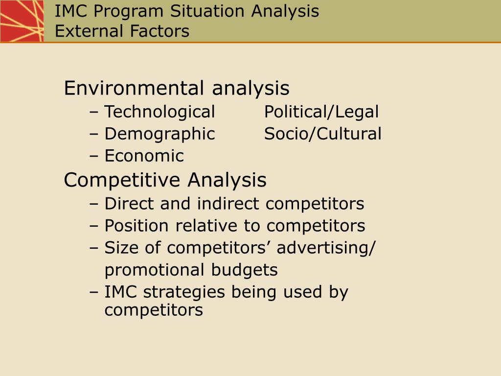 promotional program situation analysis Research the marketing environment and identify possible opportunities and/or threats that can affect your promotional program select a small business in your local.