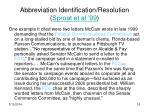 abbreviation identification resolution sproat et al 99