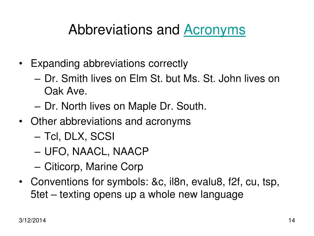 Abbreviations and