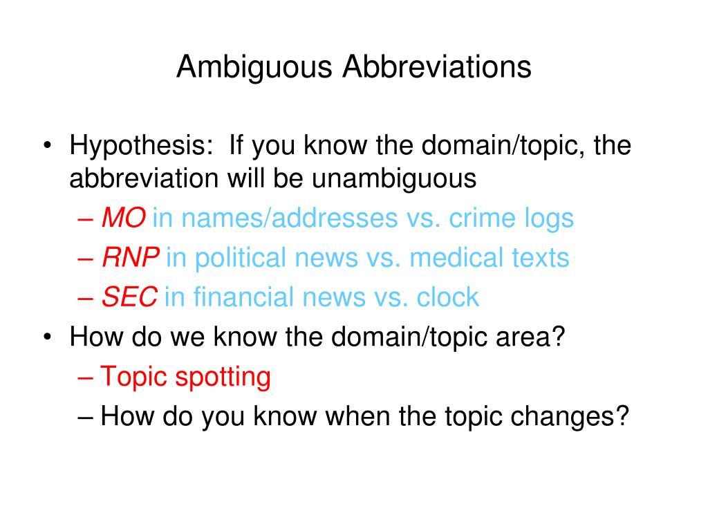 Ambiguous Abbreviations