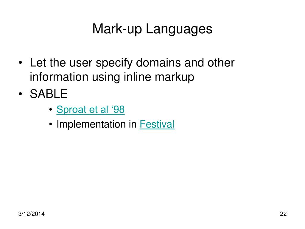 Mark-up Languages