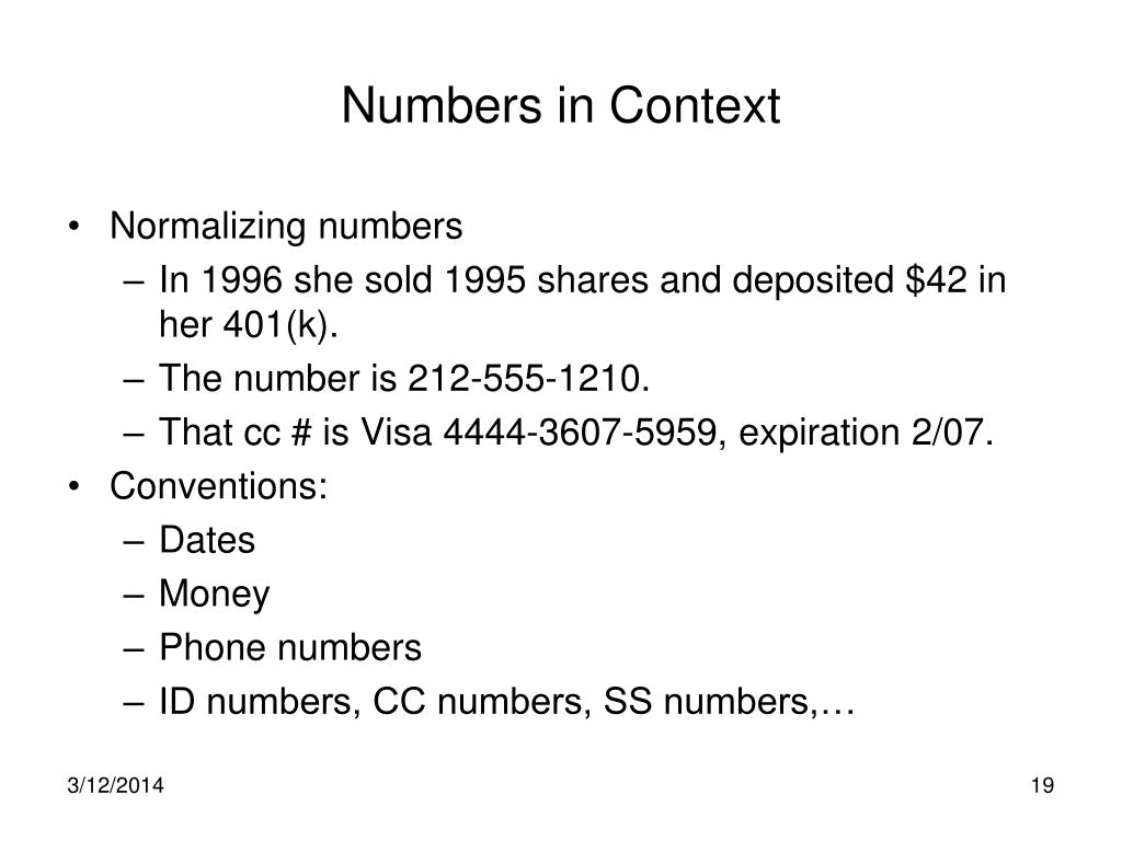 Numbers in Context