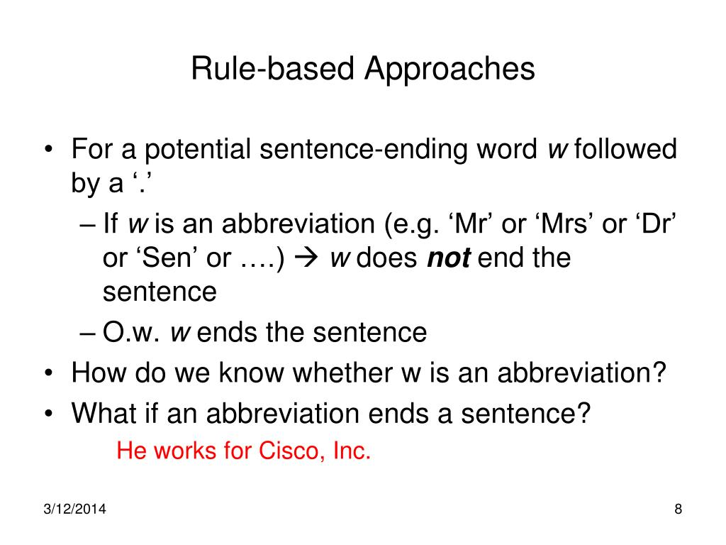 Rule-based Approaches