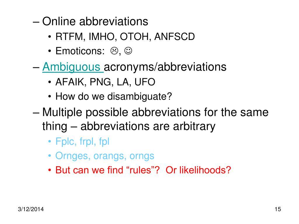 Online abbreviations