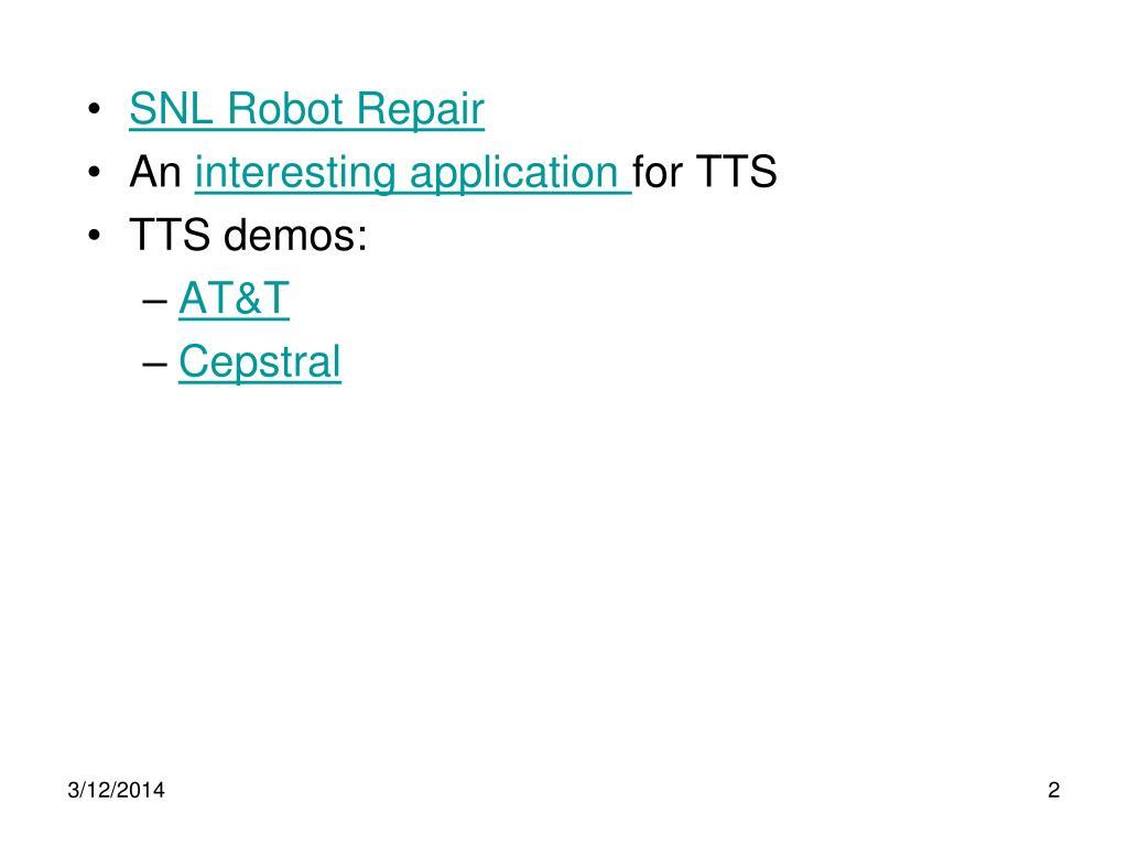 SNL Robot Repair