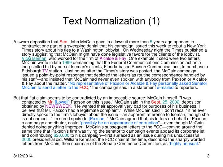 Text normalization 1