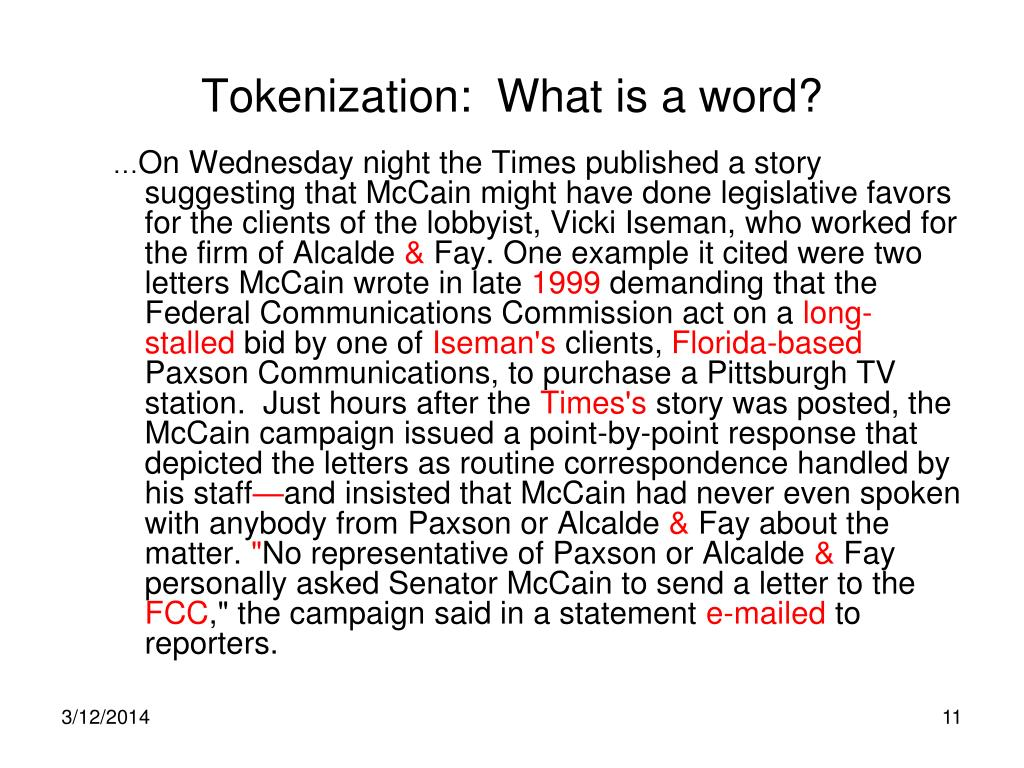 Tokenization:  What is a word?