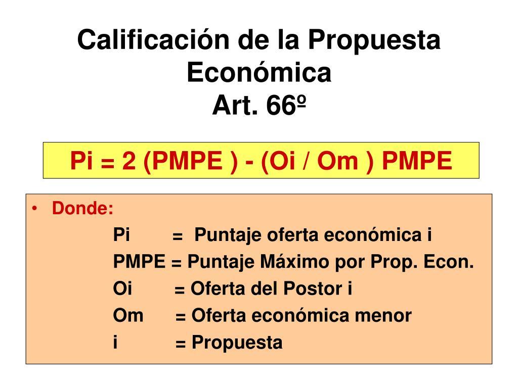 Calificación de la Propuesta Económica