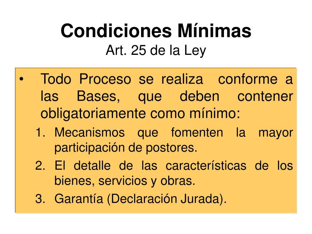 Condiciones Mínimas