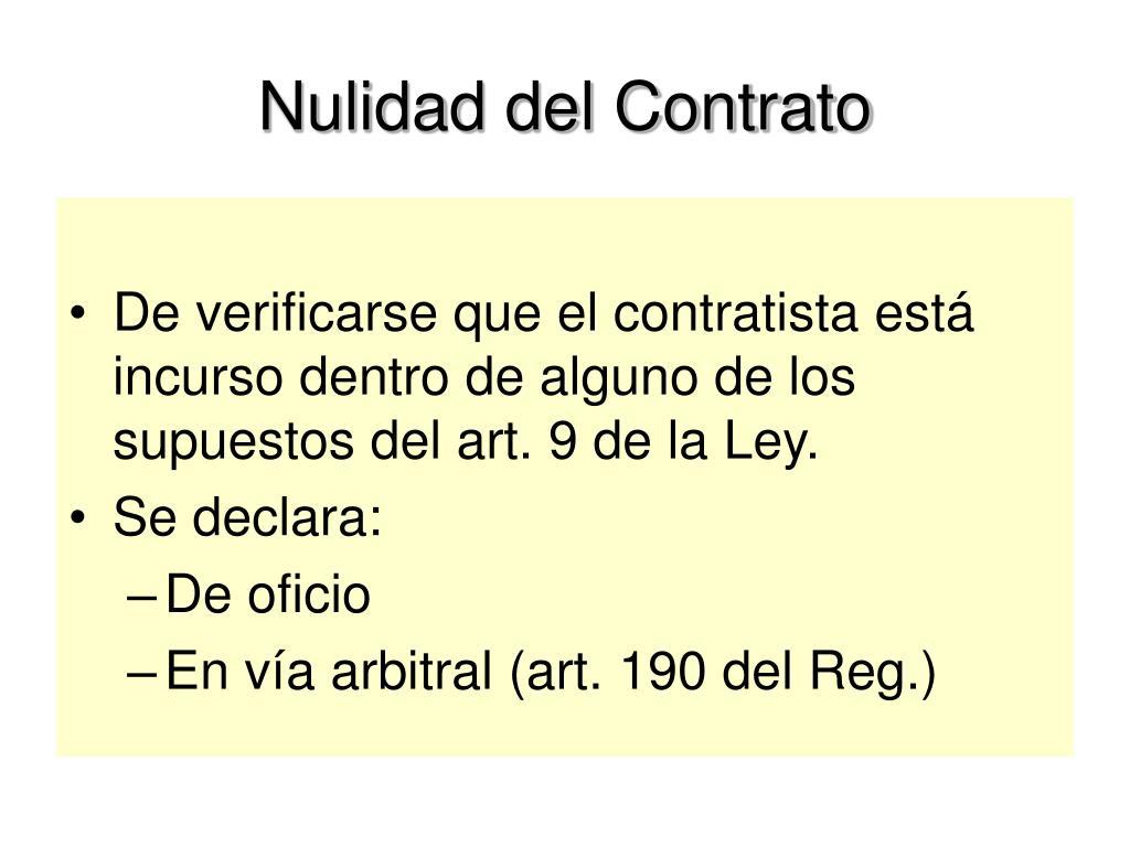 Nulidad del Contrato