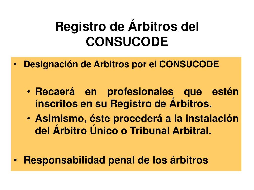 Registro de Árbitros del CONSUCODE