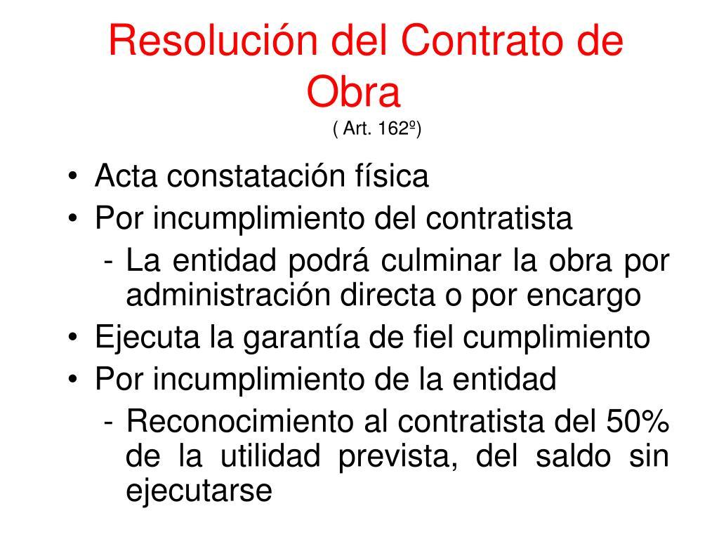 Resolución del Contrato de Obra