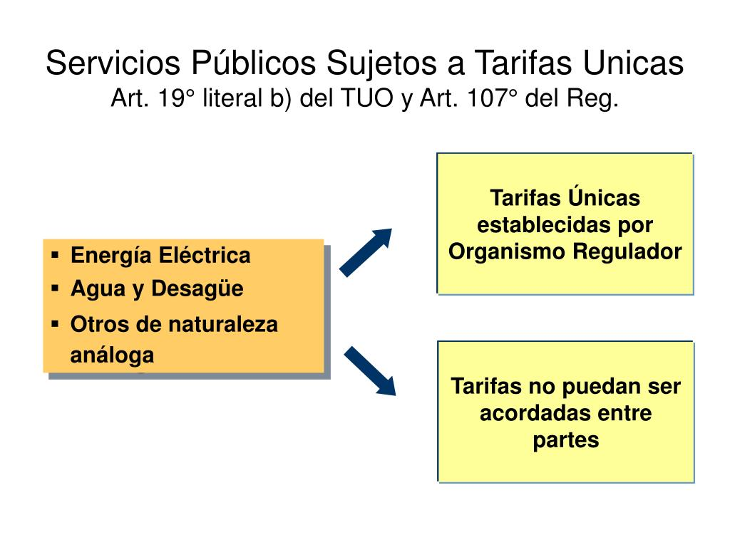 Servicios Públicos Sujetos a Tarifas Unicas