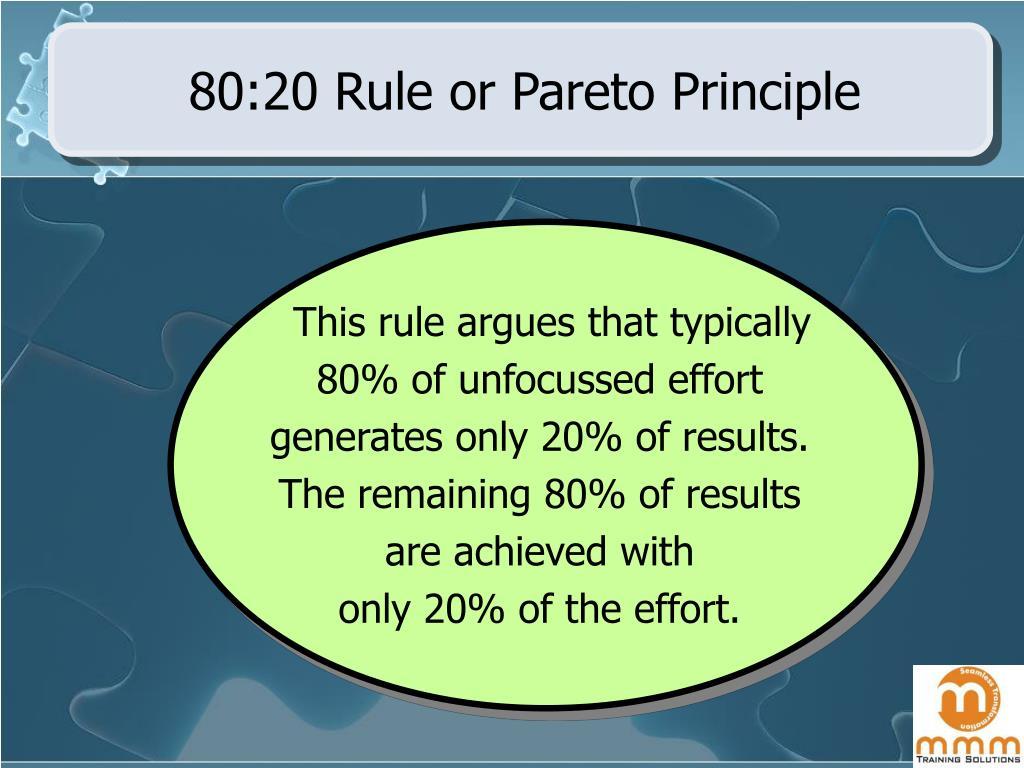 80:20 Rule or Pareto Principle