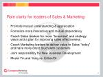 role clarity for leaders of sales marketing