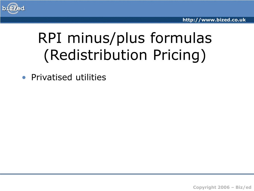 RPI minus/plus formulas (Redistribution Pricing)