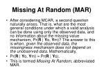 missing at random mar