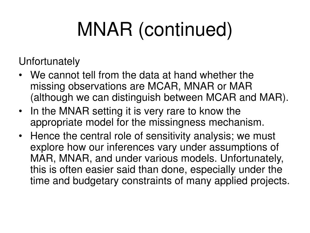 MNAR (continued)