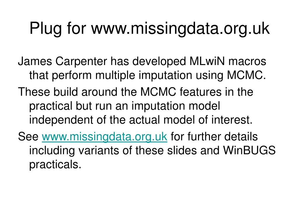 Plug for www.missingdata.org.uk