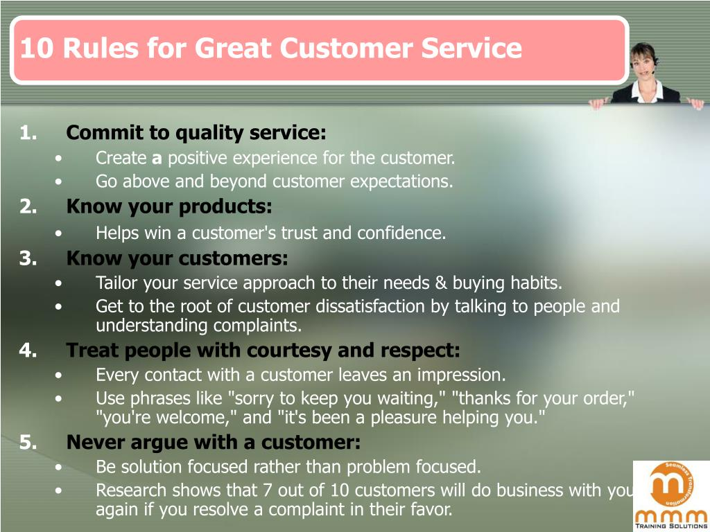 10 Rules for Great Customer Service