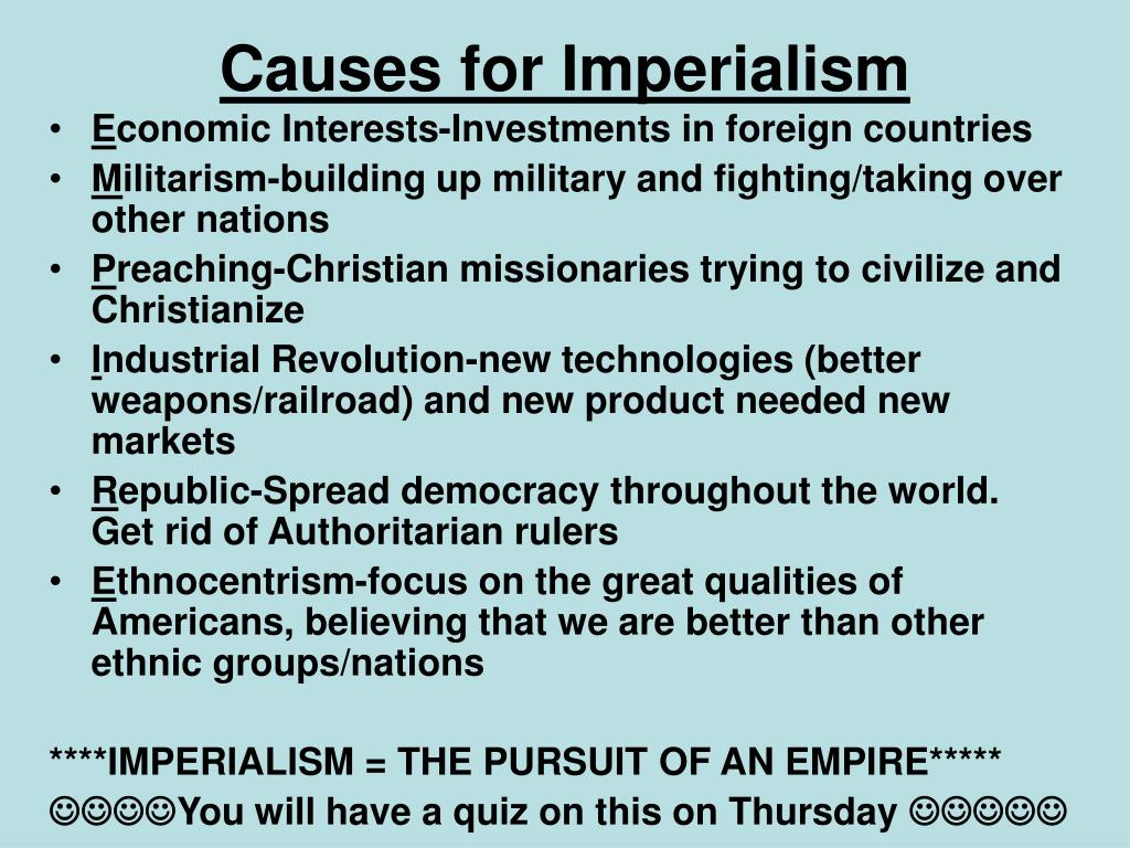 Causes for Imperialism