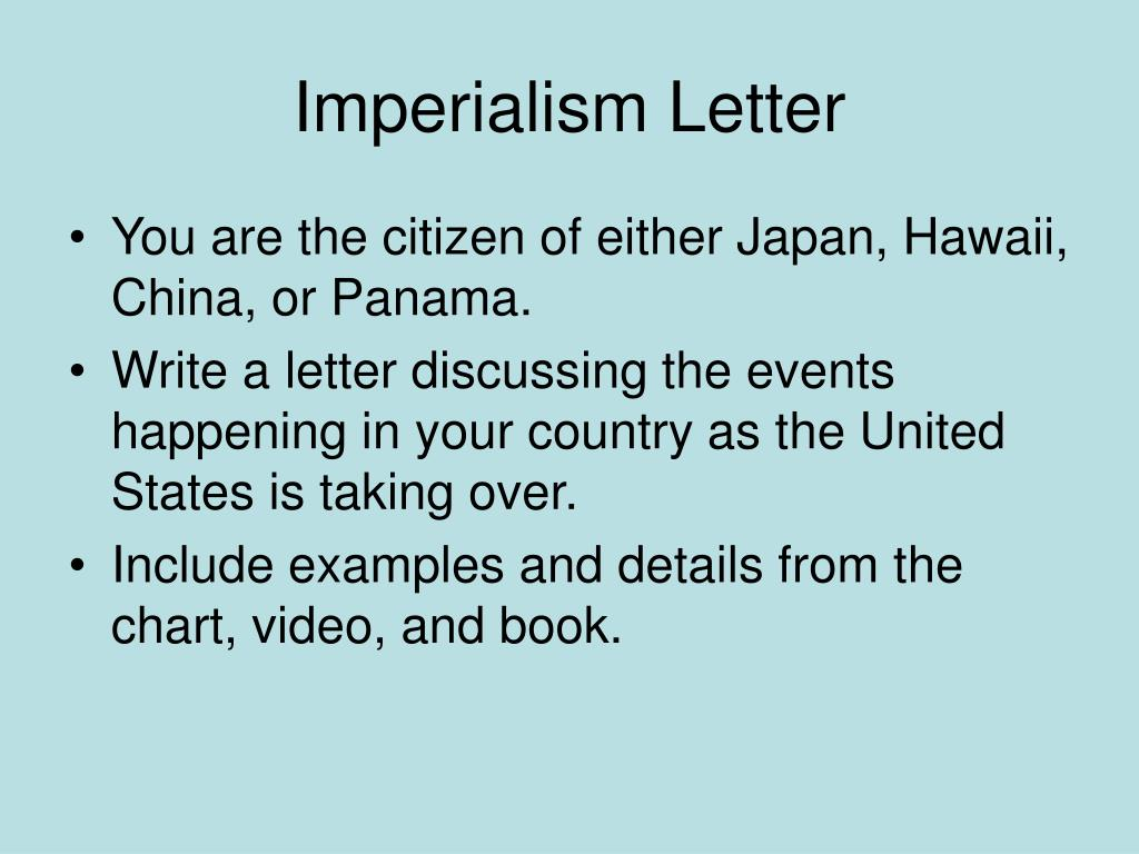 Imperialism Letter