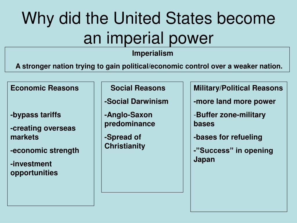 Why did the United States become an imperial power