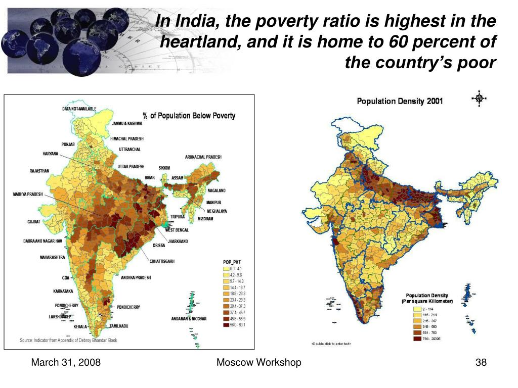 In India, the poverty ratio is highest in the heartland, and it is home to 60 percent of the country's poor