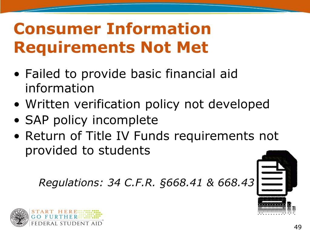 Consumer Information Requirements Not Met