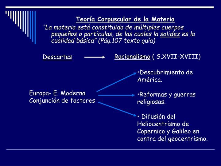 Teoría Corpuscular de la Materia