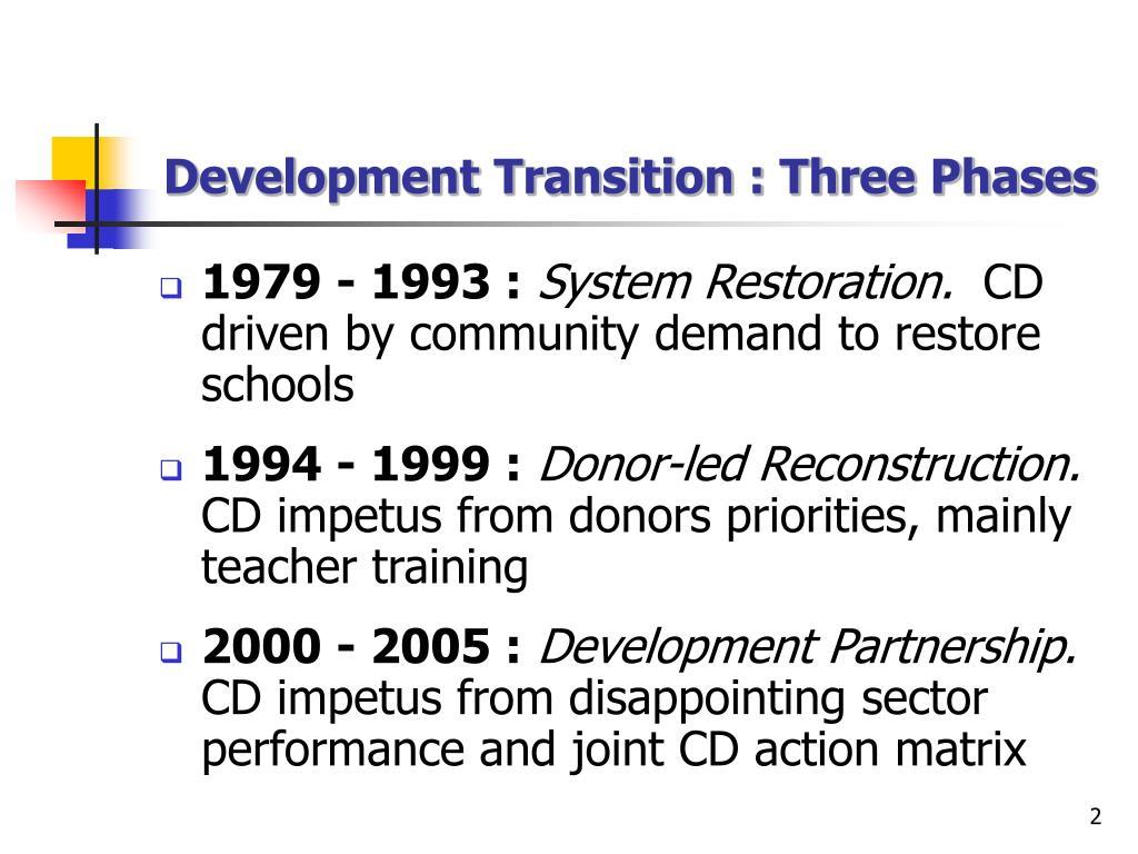 Development Transition : Three Phases