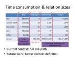 time consumption relation sizes
