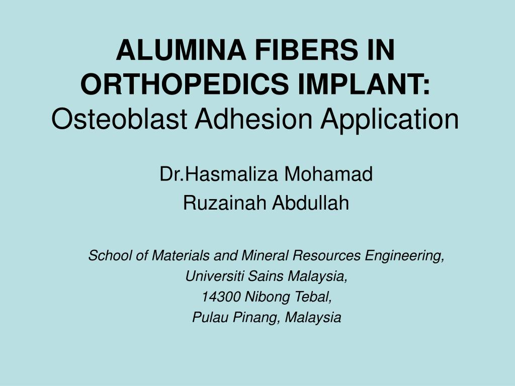 alumina fibers in orthopedics implant osteoblast adhesion application