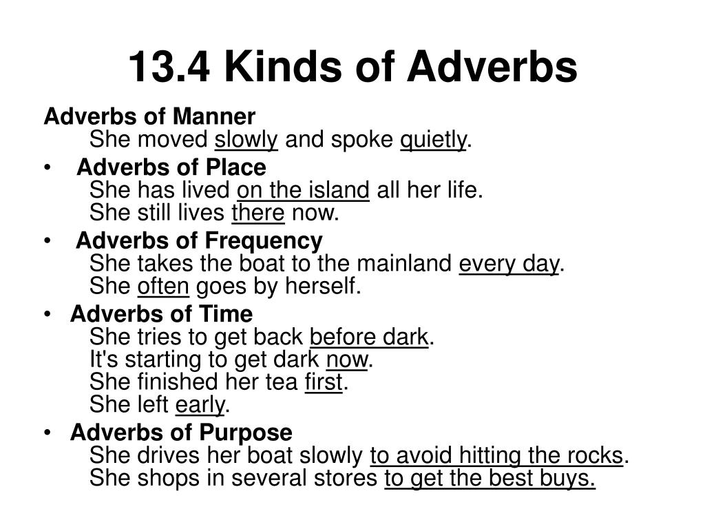 13.4 Kinds of Adverbs