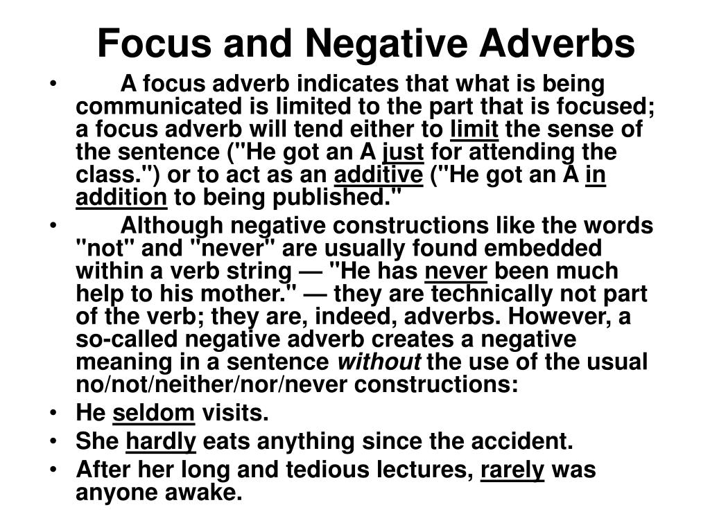 Focus and Negative Adverbs