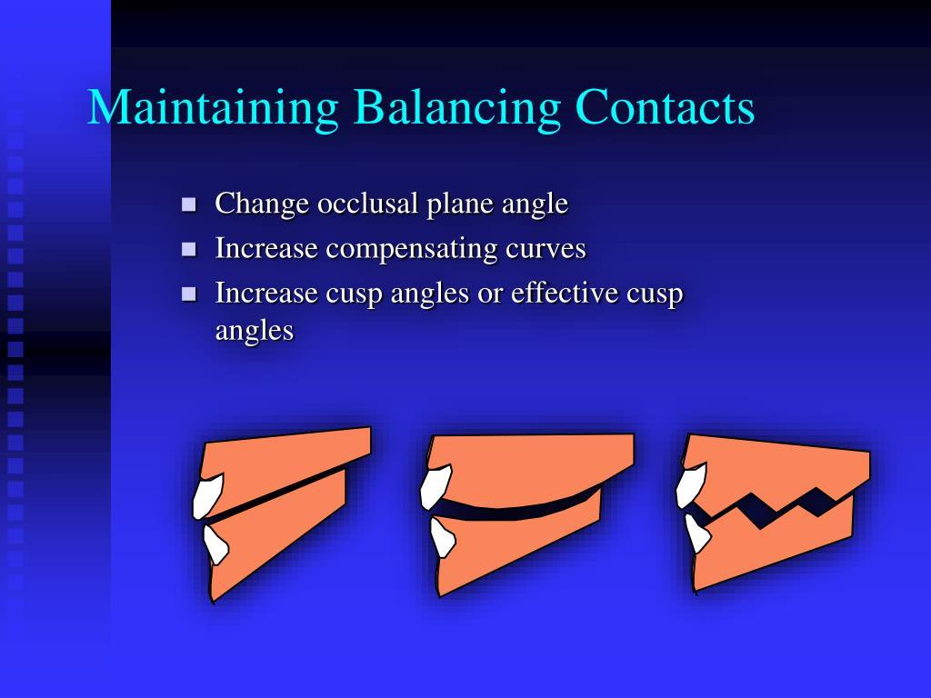 Maintaining Balancing Contacts
