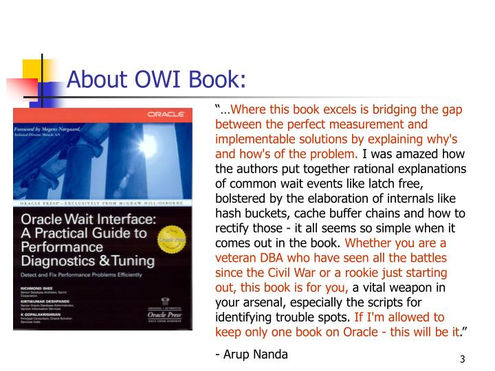 About owi book