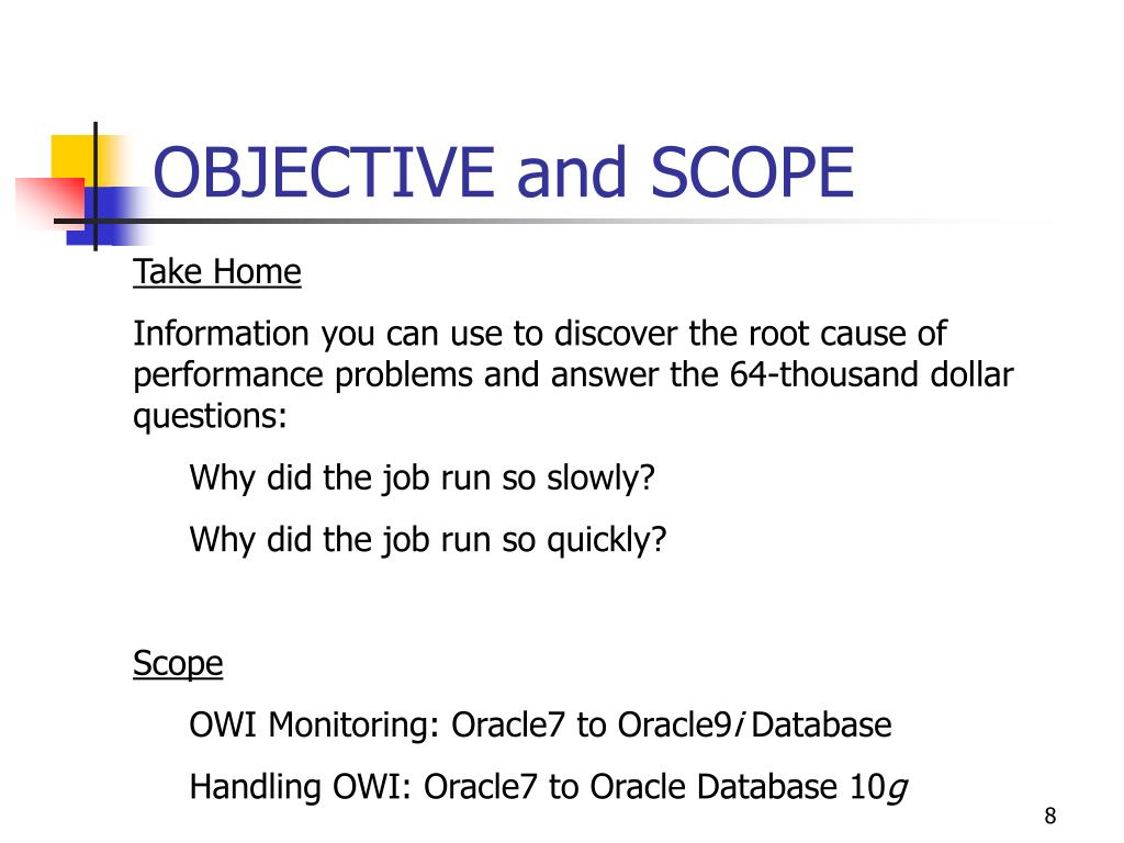 OBJECTIVE and SCOPE